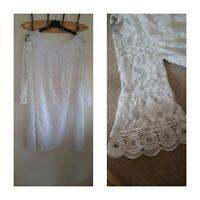 NEW Ex Wall*s 10-18 Bardot Off Shoulder Palm leaf Print Black White Beige Dress