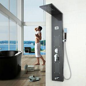 UK Bathroom Wall Mounted Shower Panel Screen Massage Jets Mixer Tap Faucet Unit