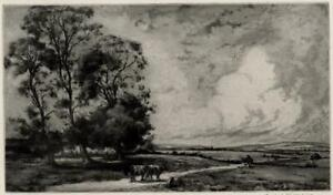 CHARLES HENRY BASKETT 1872-1953 Signed Aquatint Etching THE ROAD TO THE UPLANDS