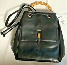 Woman Fashionable Lookin Bamboo Handle Backpack Bag black Synthetic leather NEW