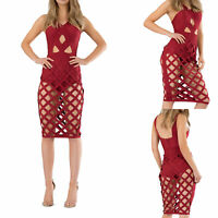 Women Bodycon Bandage Dress Ladies Cages Cut Out Midi Dress Burgundy Size 8-10