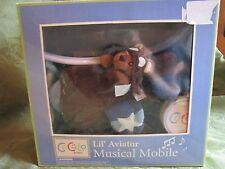 Cocalo Baby Navy Brown Nursery Decor Crib Musical Mobile Lil Aviator Rare New