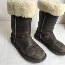Ugg Austrailia Distressed Leather & Sheepskin Bomber Boots Women's 7   H7