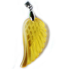 Gorgeous Angel's wings Carved Yellow Citrine Gemstone Silver Necklace Pendants