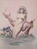 VTG Frank Frazetta Art GIRL BATHING 1962 Full Color Plate GGA Nude Pin Up 60s