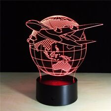 7-Color 3D LED Light Touch Button Lamp Home Fly the World Earth Globe Airplane