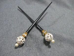 Vintage pair enamel rhinestones faux pearl flowers black wood hair chop sticks