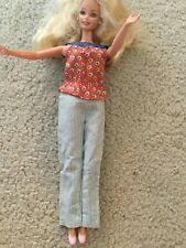Doll Clothes for Barbie Long Pants White Thin Blue Stripes Red Top Blue Straps F