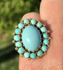 Mid-Century 14K Yellow Gold Oval Blue Turquoise Cabochon Halo Pinky Ring
