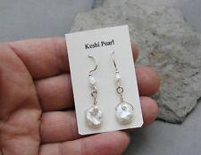 Genuine Keshi Natural Pearl Earrings Sterling Silver Wrapped Handcrafted OOAK