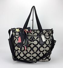 COACH 16981 SIGNATURE C PURSE BABY DIAPER BAG OP ART XL Purse Bag Gray Black