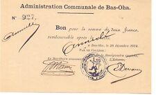 Bas Oha, ,2 francs  1914  rare