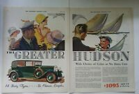 1934 green car Good Year tires little girl driving vintage two-page color ad