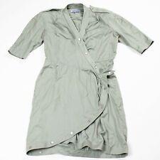Vintage 80s Thierry Mugler army green asymmetrical wrap designer dress FLAW 44