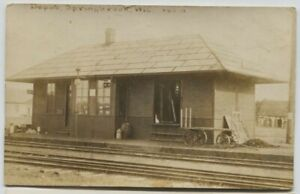 1916 Railroad Depot Springbrook Wisconsin Real Photo Postcard RPPC