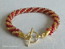 Ruby Red & Golden Colour Stripey Woven Kumihimo Seed Bead Fashion Bracelet