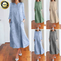 Autumn Winter Women Boho Casual Dress Loose Baggy Striped Maxi Long Sleeve Dress