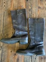 J. Crew Brown Leather Knee High Riding Boots Side Zip Size 8.5 Hobo Distressed