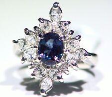 Vintage 2.68CT Platinum Natural Cut White Diamond Alexandrite Engagement Ring