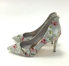 New Ted Baker 'Savei' Leather High Heel UK4 Blue Floral Oriental Bloom 311287
