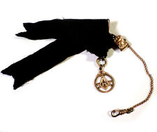 Antique Victorian Era JMF Co John Fisher Watch Fob Black Ribbon Masonic Pendant