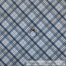 BonEful Fabric FQ Cotton Quilt White Blue Baby Boy Plaid Gingham Stripe Print US