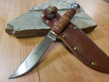 "Marbles 7.75"" Fixed Blade Hunter Knife 440A Stacked Leather Hunting Skinner 302"