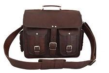 "Vintage Mens Leather Briefcase Office Satchel Laptop School Messenger Bag 15x12"""