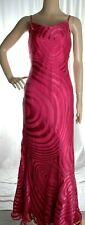 MONSOON pink satin swirl print SILK strappy long dress size 10 UK