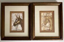 "Batik Horse Painting Picture Pair 10"" Vtg Mid Century Framed Art Signed"