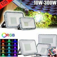10-300W RGB/White LED Flood Light Outdoor Garden Yard Lamp Waterproof Spotlight