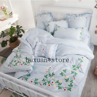 2020 Luxury Egypt Cotton bloom of youth Bedding Set Embroidery Duvet cover Sheet