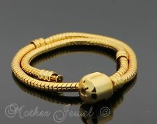 SMALL 16CM YELLOW GOLD GP CHAIN CHARM EUROPEAN BEAD LADIES BRACELET 6.3 INCH