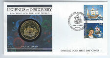 FDC 1992 STAMP LEGENDS OF DISCOVERY + $10 COIN Unc Solid Brass - Marshall Island