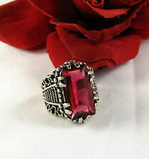 Sterling Silver 18g HUGE Pink Cocktail Ring Size 9  FERAL CAT RESCUE