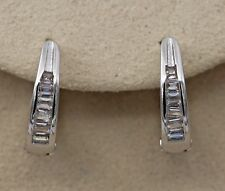 18K White Gold Filled - Trapezoid Style Topaz Zircon Hoop Women Gems Earrings