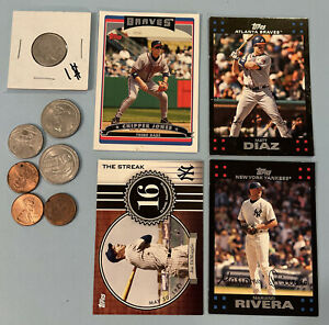 Junk Drawer Lot  - Baseball Cards  and Coins