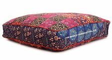 Indian Square Floor Seat Cushion Pillow Cover Ottoman Pouf Stool Bohemian Decor