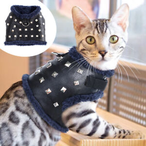 Leather Cat Harness and Leash for Walking Small Puppy Dogs Fleece Vest Clothes
