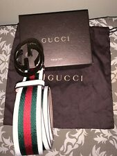 Gucci silver double GG White, Red & Green Web Mens belt size 105