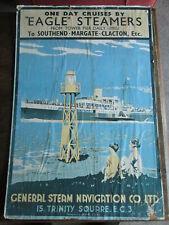 More details for original eagle steamers poster. cruise ship poster. vintage steamship poster