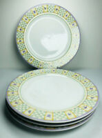 Sakura Lavender Tea Garden Dinner Plates SET of 4 Oneida Purple Flowers 10 7/8""