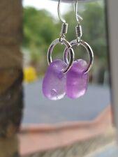 Purple sea glass dangle  earrings