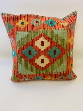 Vintage Orange Multi Colour Antique Cushion Cover of Afghan Handmade Wool Kilim