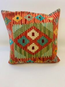 Vintage Orange Multi Colour Antique Cushion Cover of Afghan Handmade Wool Kilim