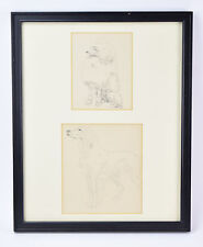 Framed pair of 1930's Pencil Drawings Poodle and Golden Retriever Dogs