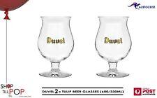 DUVEL 6 x TULIPS BEER GLASSES 600/330ml BOXED MAN CAVE BELGIUM