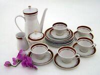 Kaffeeservice Teeservice  Lettin Porzellan 5 Personen 18 teilig mit Goldbordüre
