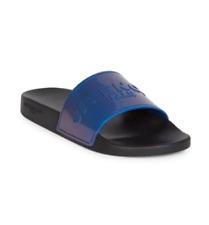 NIB Givenchy Paris Mens Blue Logo Rubber Slides Sandals 46 12 New $325