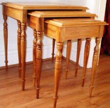 Antique pine nest of 3 side lamp coffee end tables slender design vgc